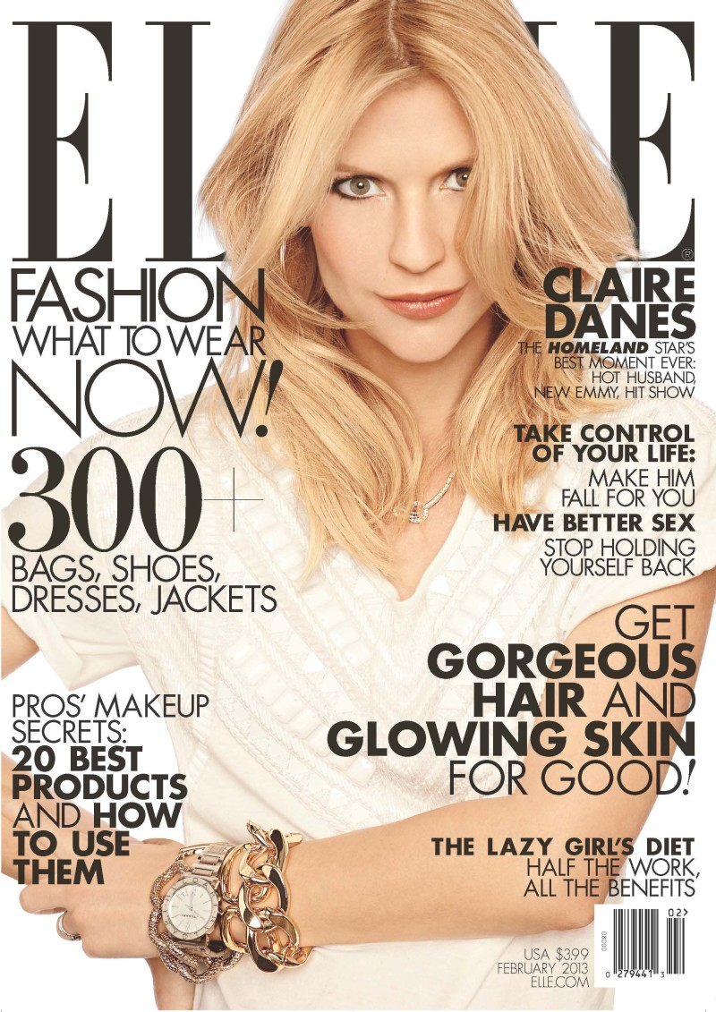 Claire Danes Graces the February 2013 Cover of Elle US