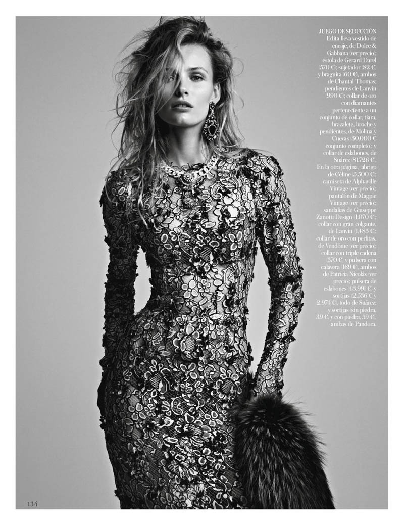 EditaDemarchelier2 Edita Vilkeviciute Poses for Patrick Demarchelier in Vogue Spains January Issue