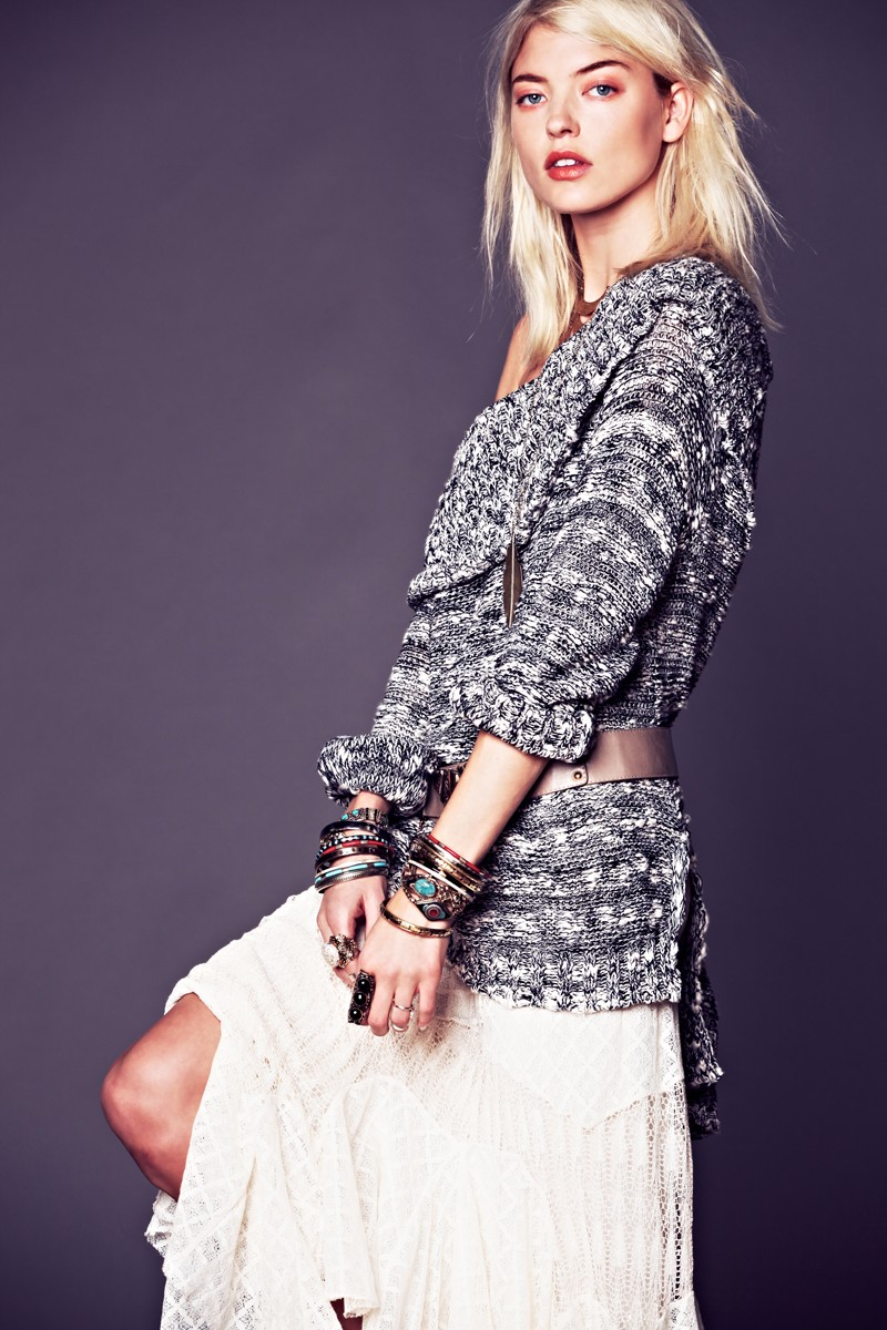 Martha Hunt Sports Flirty, Tomboy Style for Free People's January Lookbook