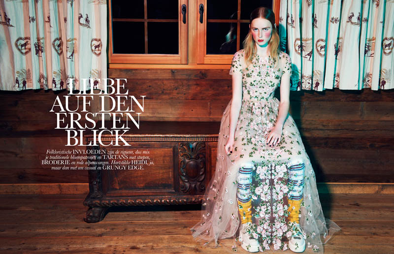 FolkElle1 Rianne van Rompaey Gets Dolled Up for Elle Netherlands February Issue
