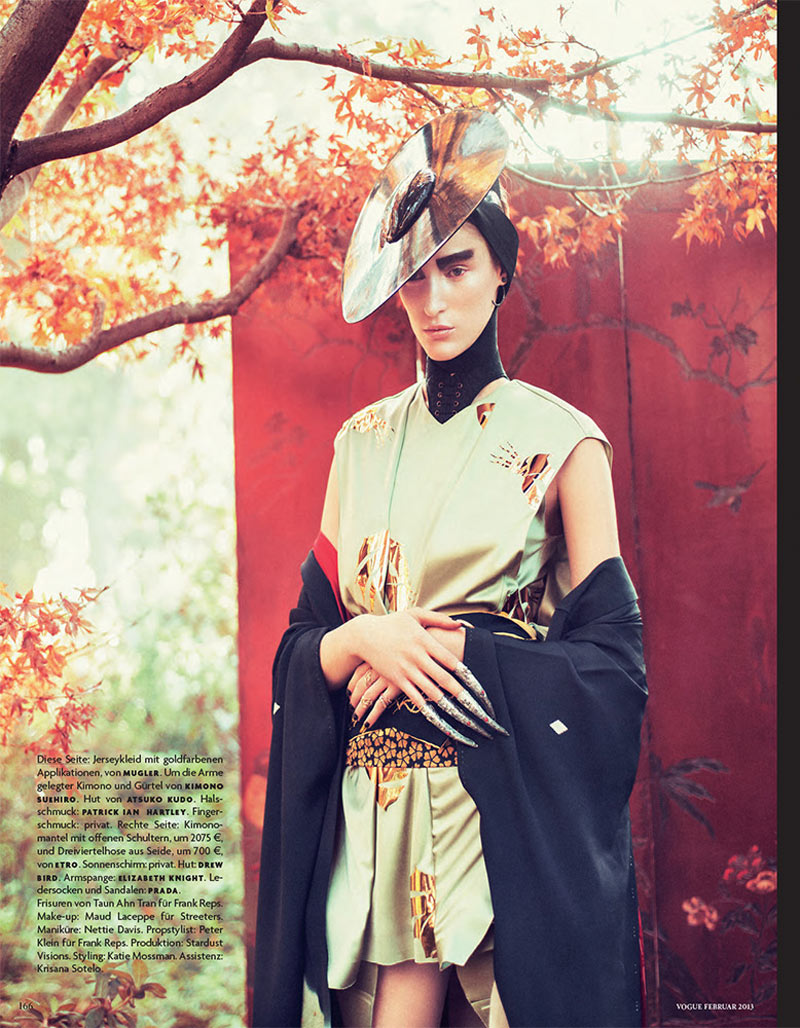 FranziGeisha10 Franzi Mueller is Geisha Glam for Vogue Germany February 2013 by Sebastian Kim