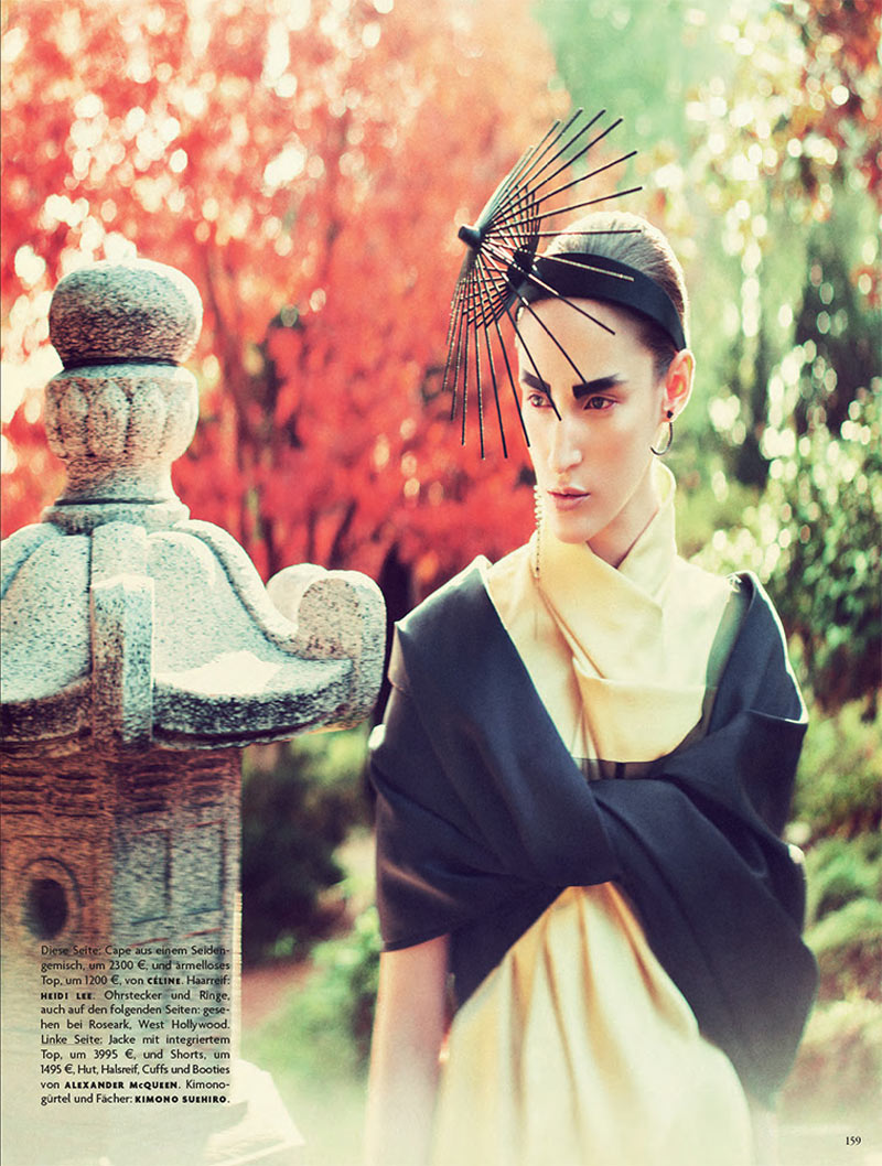 FranziGeisha3 Franzi Mueller is Geisha Glam for Vogue Germany February 2013 by Sebastian Kim