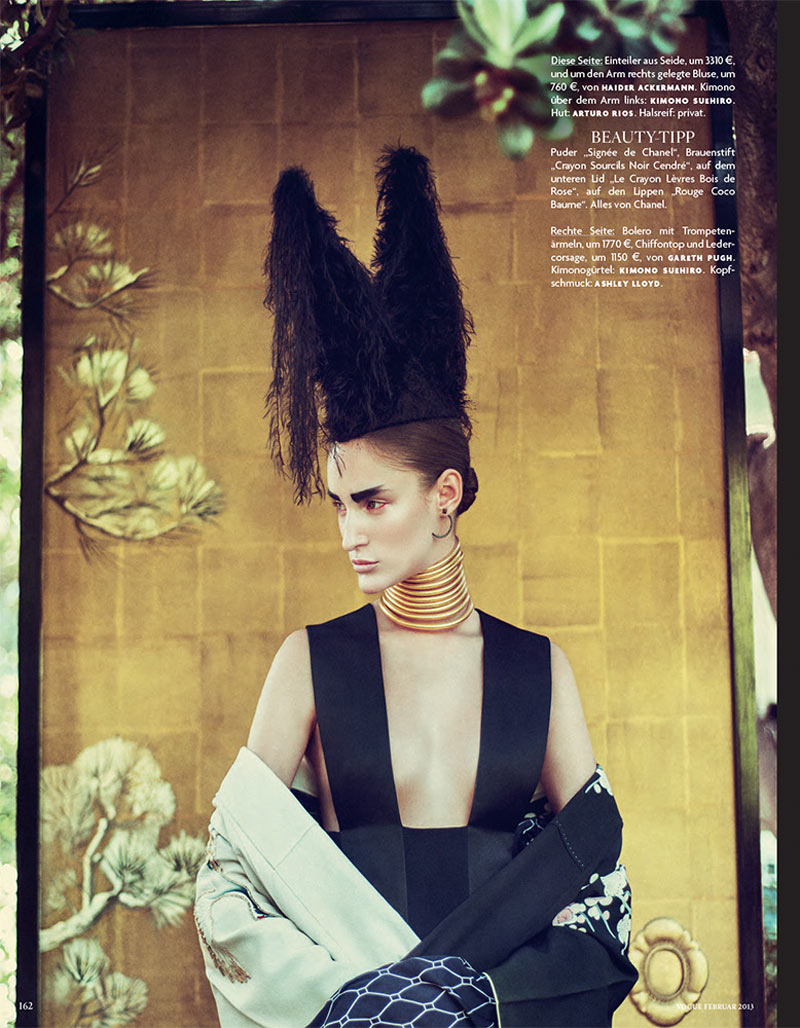 FranziGeisha6 Franzi Mueller is Geisha Glam for Vogue Germany February 2013 by Sebastian Kim
