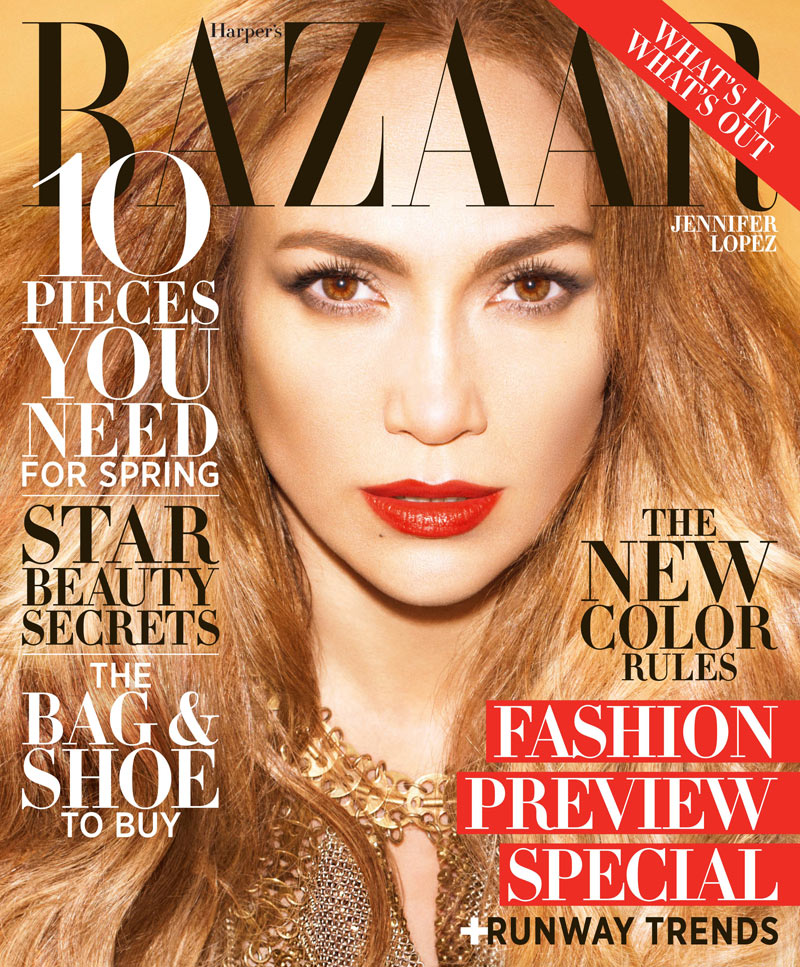 Jennifer Lopez Shines in Paco Rabanne on the February 2013 Cover of Harper's Bazaar US