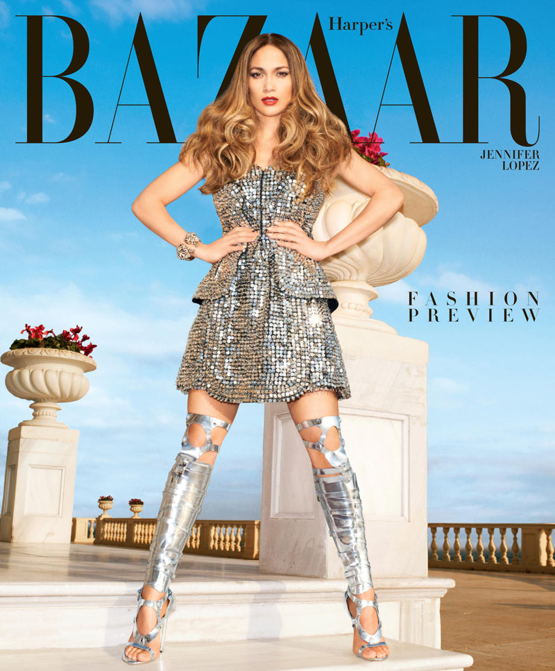 HBZ Feb subscriber cover Jennifer Lopez Shines in Paco Rabanne on the February 2013 Cover of Harpers Bazaar US