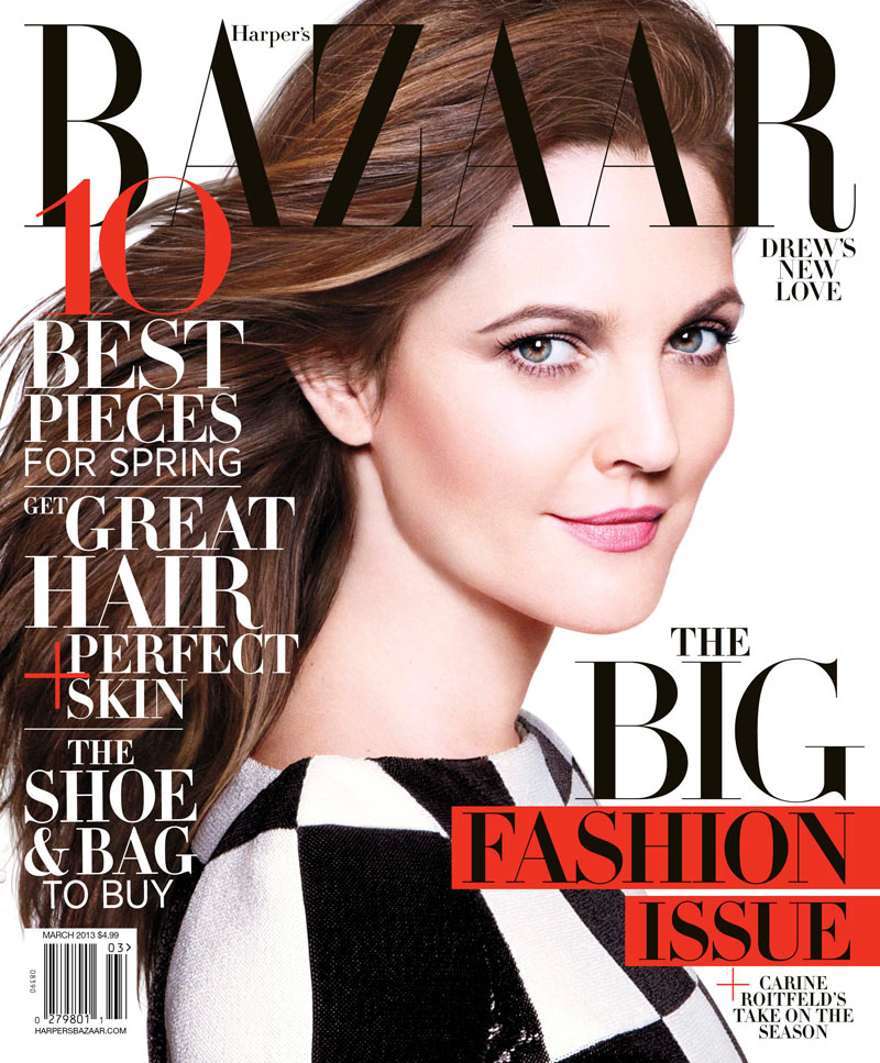 HBZ March Newsstand Cover Drew Barrymore Dons Louis Vuitton for Harpers Bazaar US March 2013 Cover