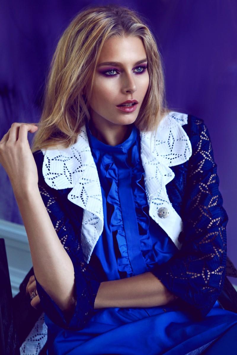 Hana Soukupova Sports Louis Vuitton for the January Cover Shoot of Elle Czech by Branislav Simoncik
