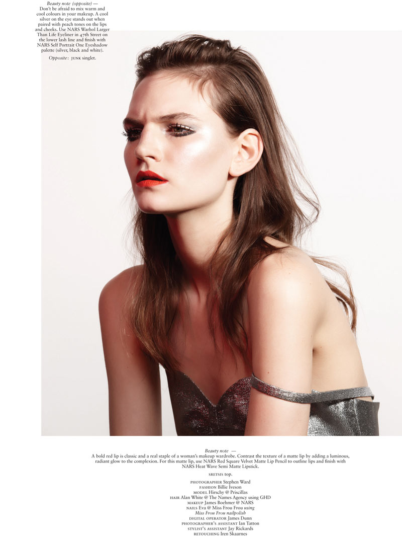 HirschyBeauty6 Hirschy Hirschfelder Dons Metallic Beauty for Russh #49 by Stephen Ward