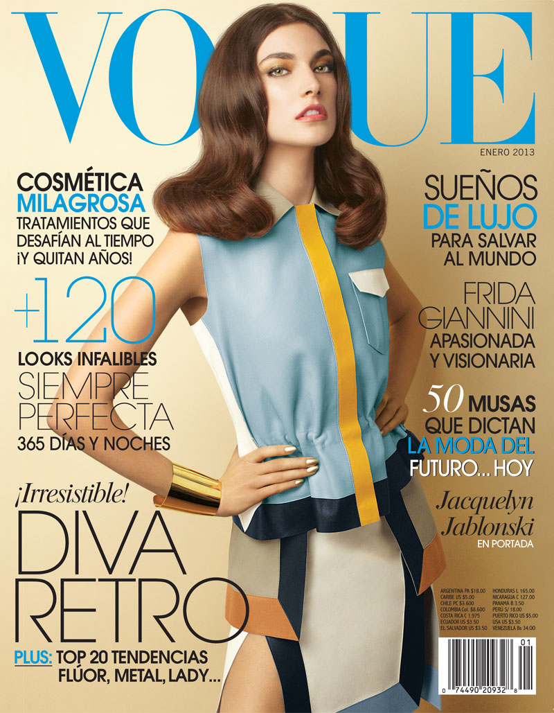 JacquelynVogueLA6 Jacquelyn Jablonski is 70s Chic in Gucci for Vogue Latin Americas January 2013 Cover Shoot