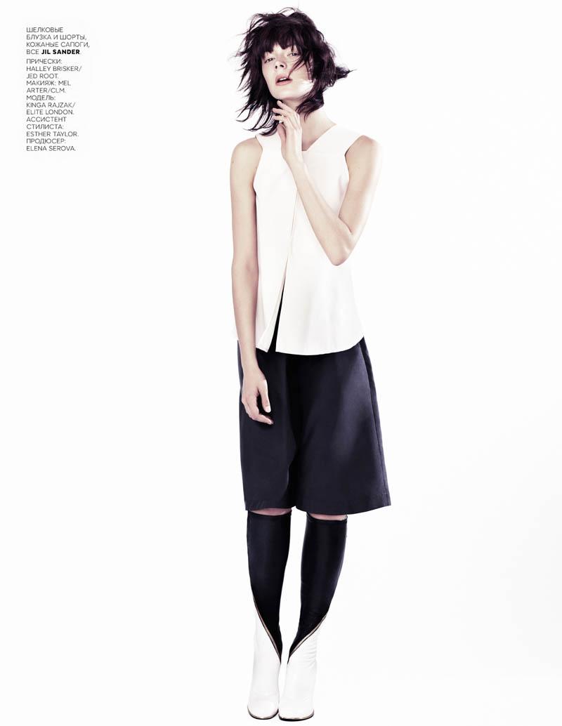 Kinga Rajzak Sports Jil Sander for Vogue Russia February 2013 by Emma Tempest