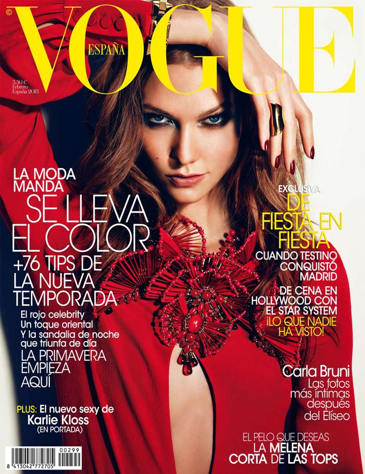 KarlieGucci Karlie Kloss Smolders in Gucci for Vogue Spains February 2013 Cover