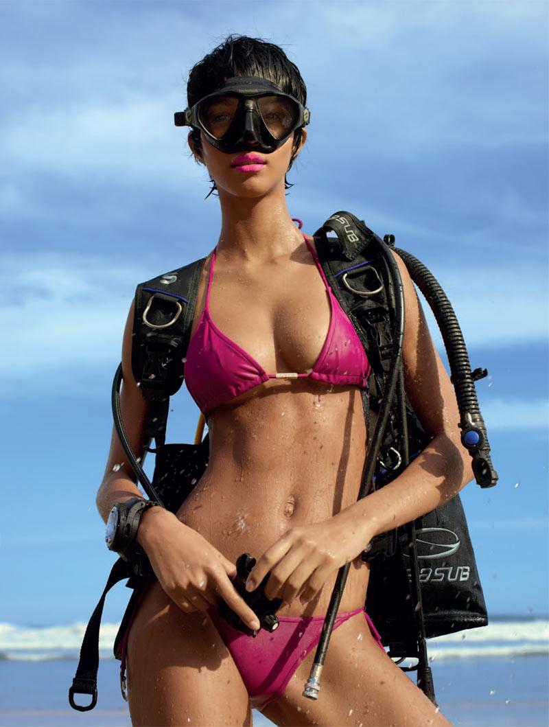 Lais Ribeiro Sports Scuba Style for Harper's Bazaar Brazil January 2013