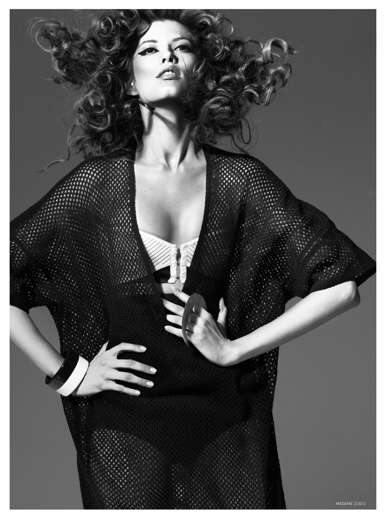 MadameFeb5 Yulia Kharlapanova Wears Black and White in Madame Magazine February 2013 by Kevin Sinclair
