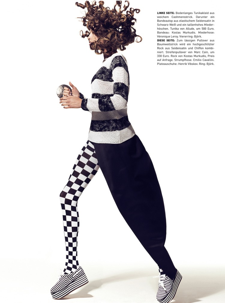 MadameFeb6 Yulia Kharlapanova Wears Black and White in Madame Magazine February 2013 by Kevin Sinclair