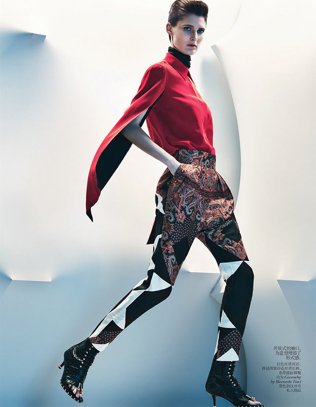 MarieVogue4 Marie Piovesan Sports Bold Prints for Vogue China January 2013 by Sebastian Kim