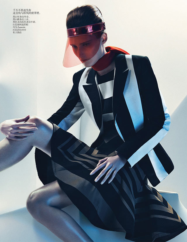 MarieVogue8 Marie Piovesan Sports Bold Prints for Vogue China January 2013 by Sebastian Kim