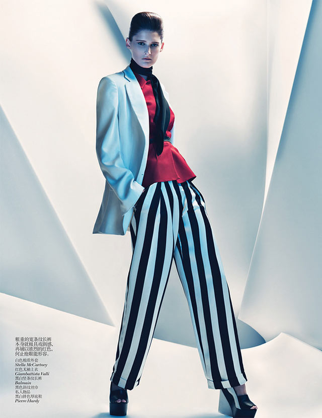 MarieVogue9 Marie Piovesan Sports Bold Prints for Vogue China January 2013 by Sebastian Kim