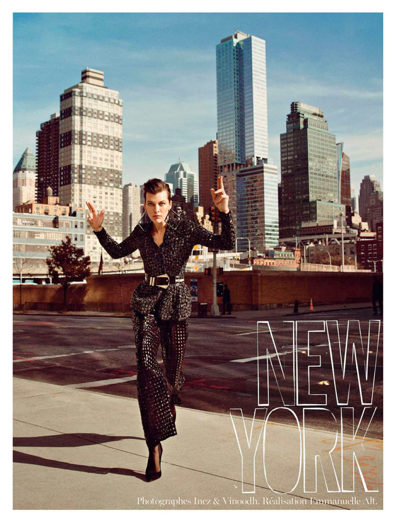 MillaNewYork1 Milla Jovovich Takes on New York for Vogue Paris February Issue by Inez & Vinoodh