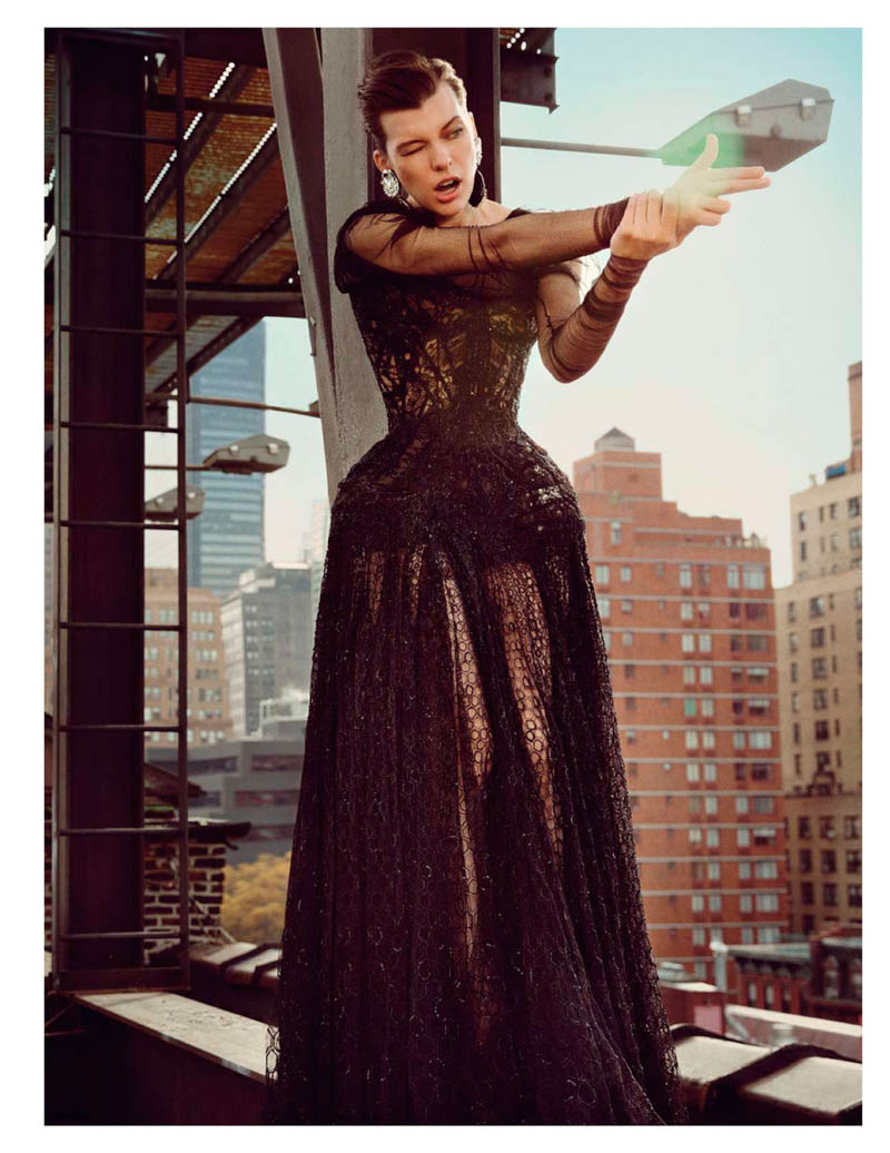 MillaNewYork12 Milla Jovovich Takes on New York for Vogue Paris February Issue by Inez & Vinoodh