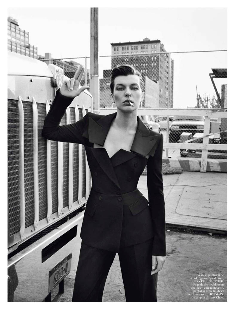 MillaNewYork5 Milla Jovovich Takes on New York for Vogue Paris February Issue by Inez & Vinoodh