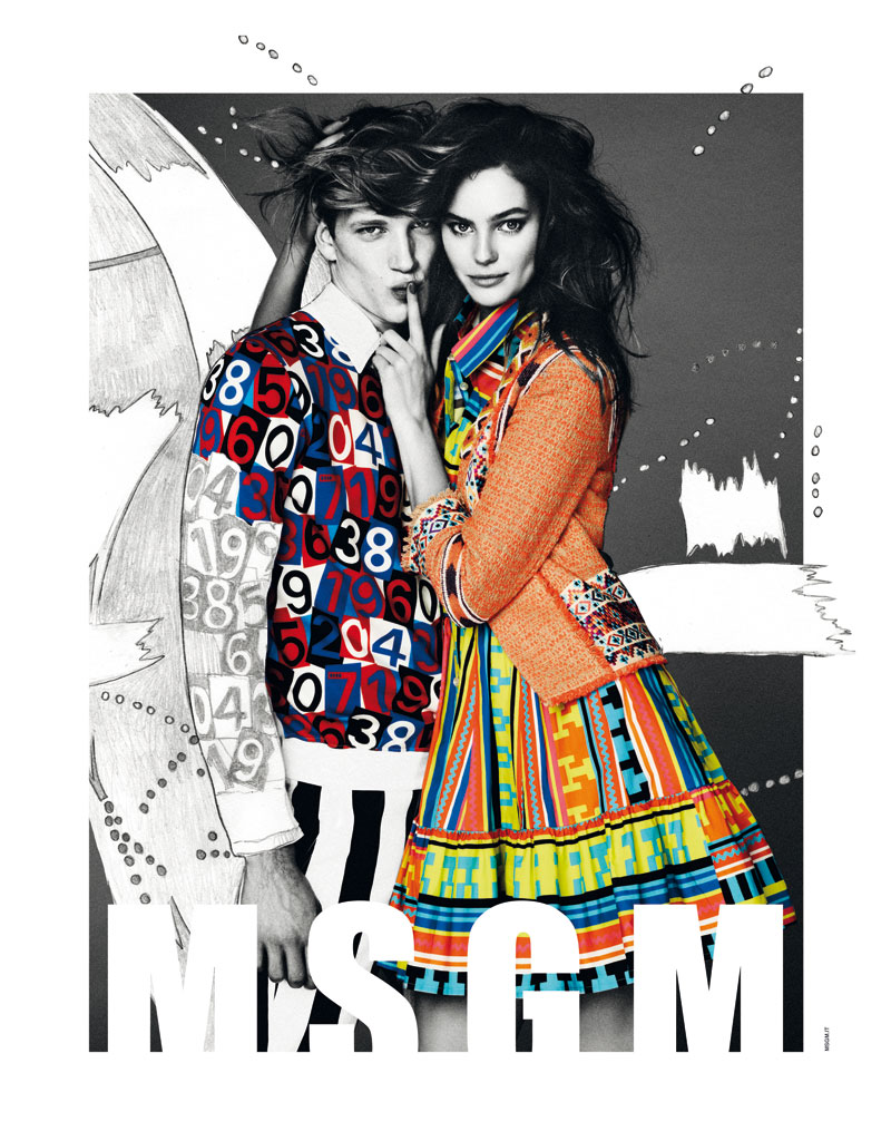 Msgm sogA Juju Ivanyuk Gets Illustrated for MSGM Spring 2013 Campaign by Giampaolo Sgura