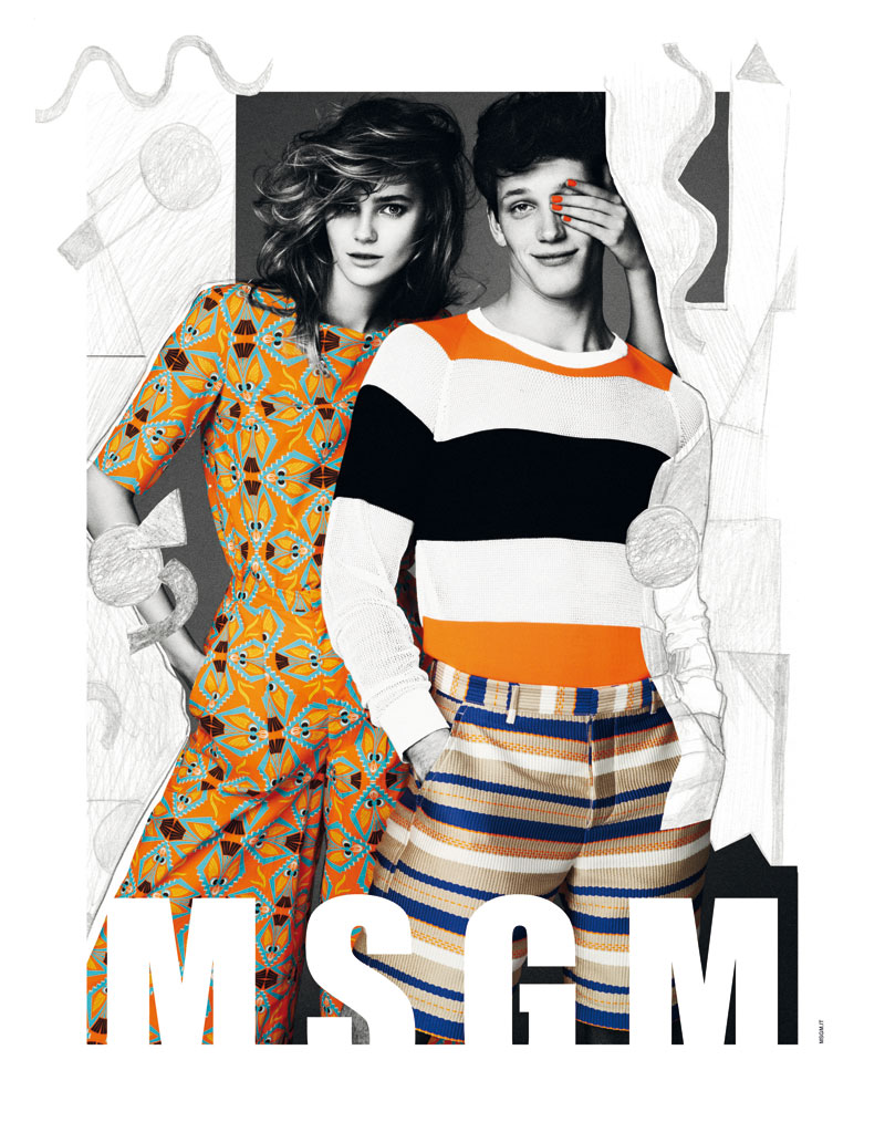 Juju Ivanyuk Gets Illustrated for MSGM Spring 2013 Campaign by Giampaolo Sgura