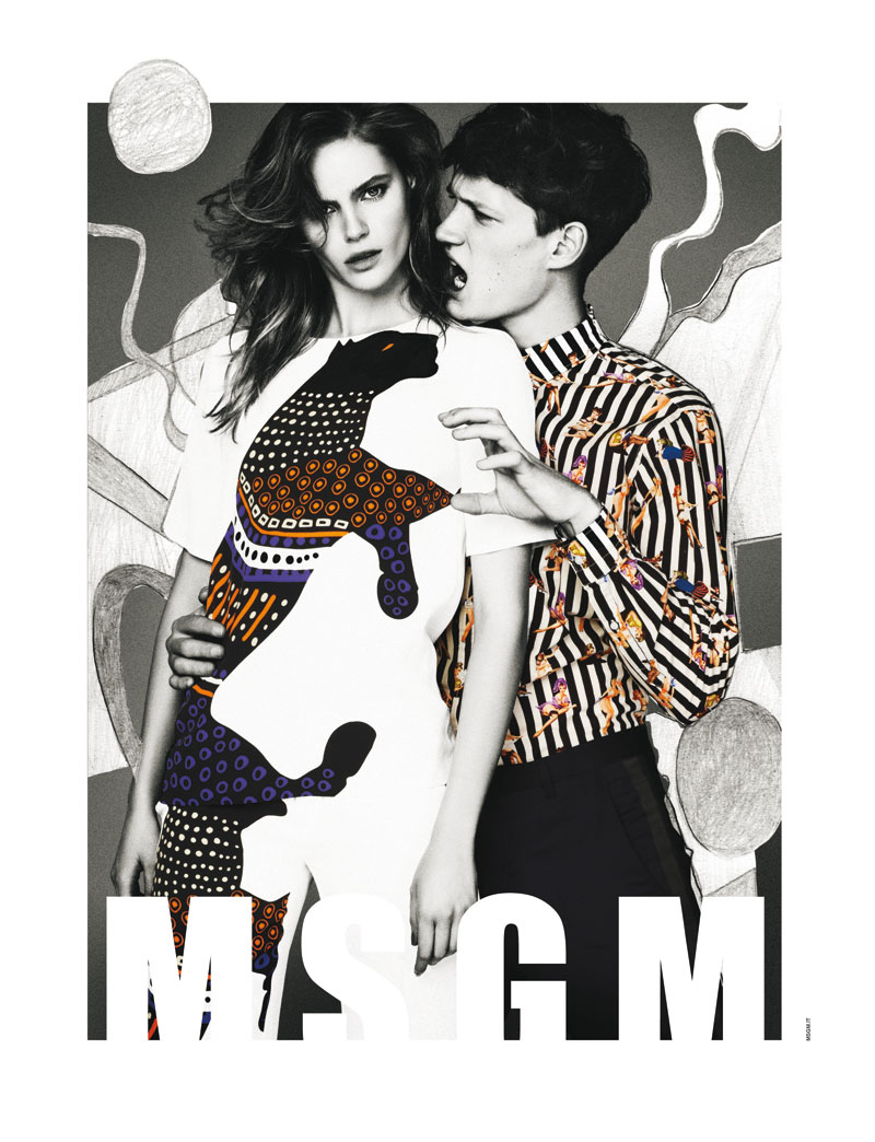 Msgm sogC Juju Ivanyuk Gets Illustrated for MSGM Spring 2013 Campaign by Giampaolo Sgura