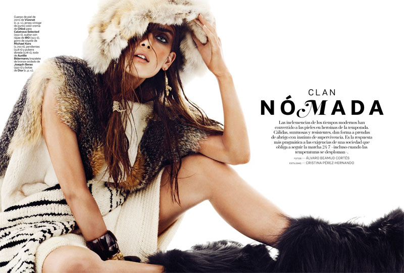 NomadModa1 Maria Palm Dons Nomadic Style for S Modas January 2013 Issue by Alvaro Beamud Cortes