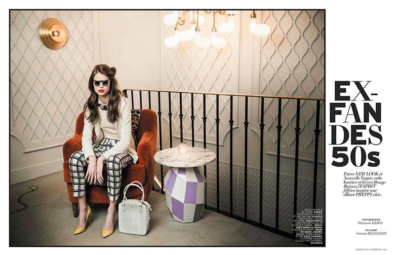 Estelle Yves Evokes 50s Elegance for L'Officiel Paris February 2013 by Thanassis Krikis
