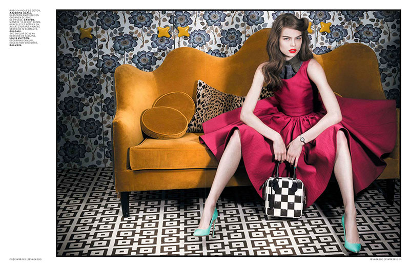 OfficielFifties6 Estelle Yves Evokes 50s Elegance for LOfficiel Paris February 2013 by Thanassis Krikis