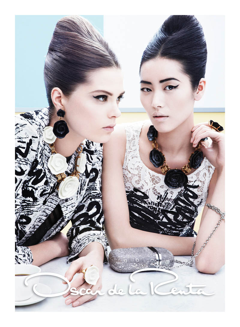 OscarSpring4 Liu Wen and Caroline Brasch Nielsen Are Retro Glam for Oscar de la Renta Spring 2013 Campaign by Craig McDean
