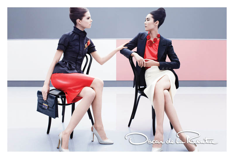 OscarSpring5 Liu Wen and Caroline Brasch Nielsen Are Retro Glam for Oscar de la Renta Spring 2013 Campaign by Craig McDean