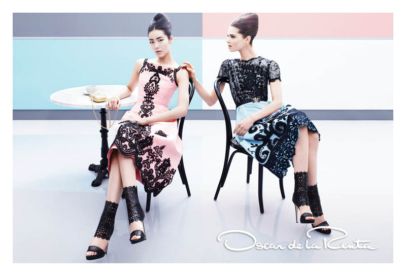 OscarSpring6 Liu Wen and Caroline Brasch Nielsen Are Retro Glam for Oscar de la Renta Spring 2013 Campaign by Craig McDean