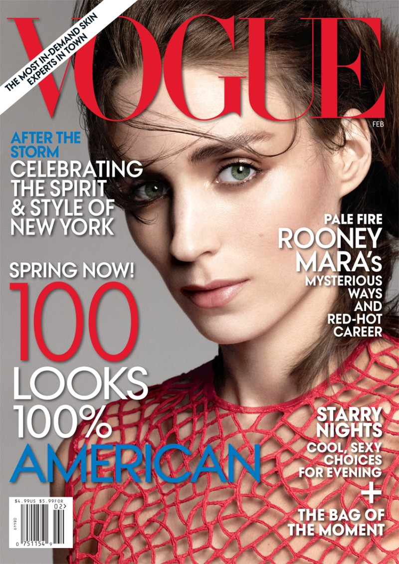 RooneyVogue1 Rooney Mara Graces the February 2013 Cover of Vogue US