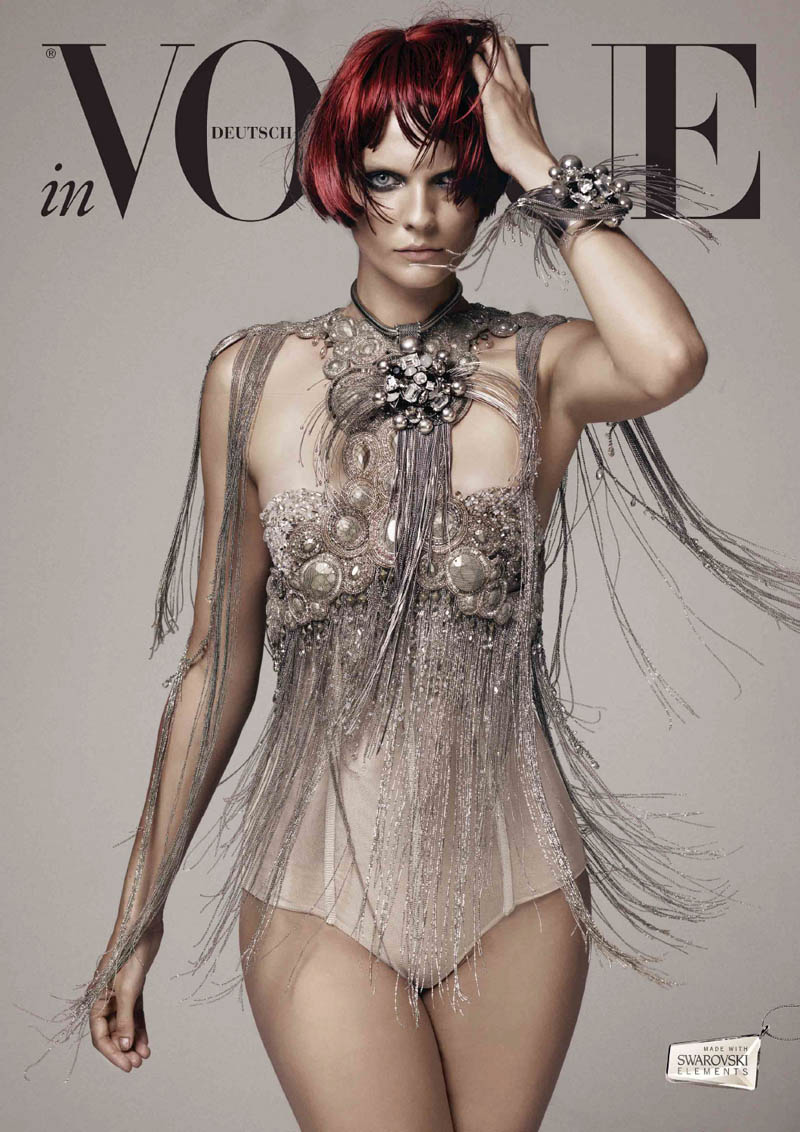 VogueCrystals2 Karolin Wolter Shines in Swarovski Elements for Vogue Germanys 2013 Horoscope