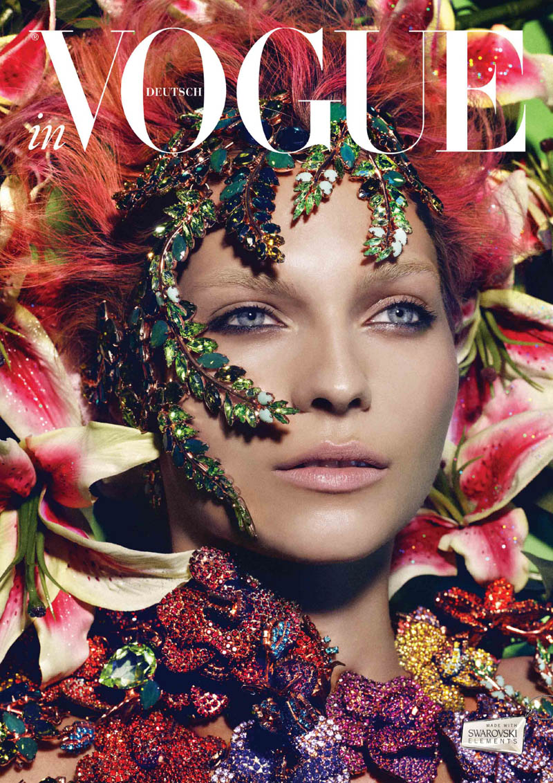VogueCrystals8 Karolin Wolter Shines in Swarovski Elements for Vogue Germanys 2013 Horoscope