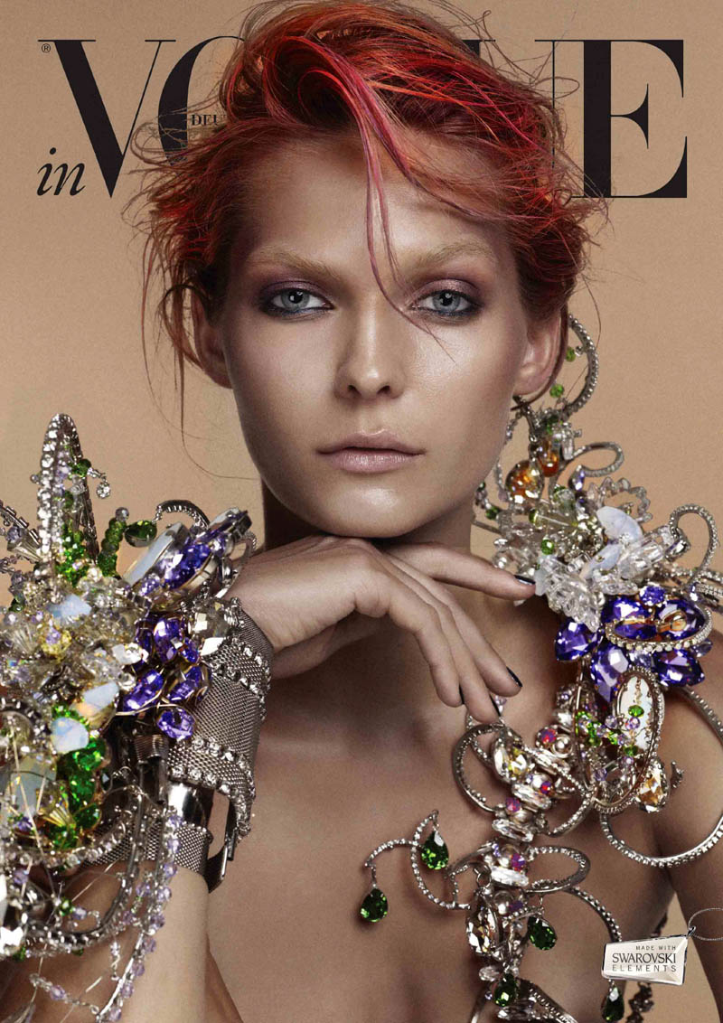 VogueCrystals9 Karolin Wolter Shines in Swarovski Elements for Vogue Germanys 2013 Horoscope