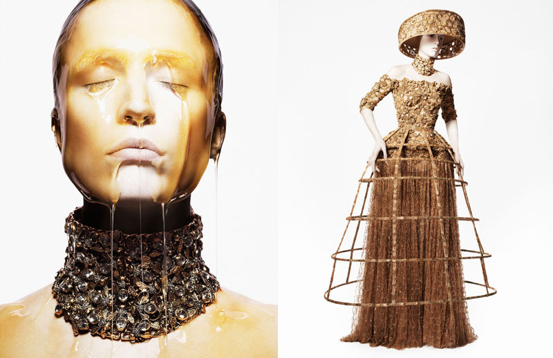 amq ciss13 01 A 1920x1080 Raquel Zimmermann Gets Honey Dipped for Alexander McQueens Spring 2013 Campaign by David Sims