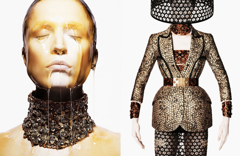 amq ciss13 02 A 1920x1080 Raquel Zimmermann Gets Honey Dipped for Alexander McQueens Spring 2013 Campaign by David Sims