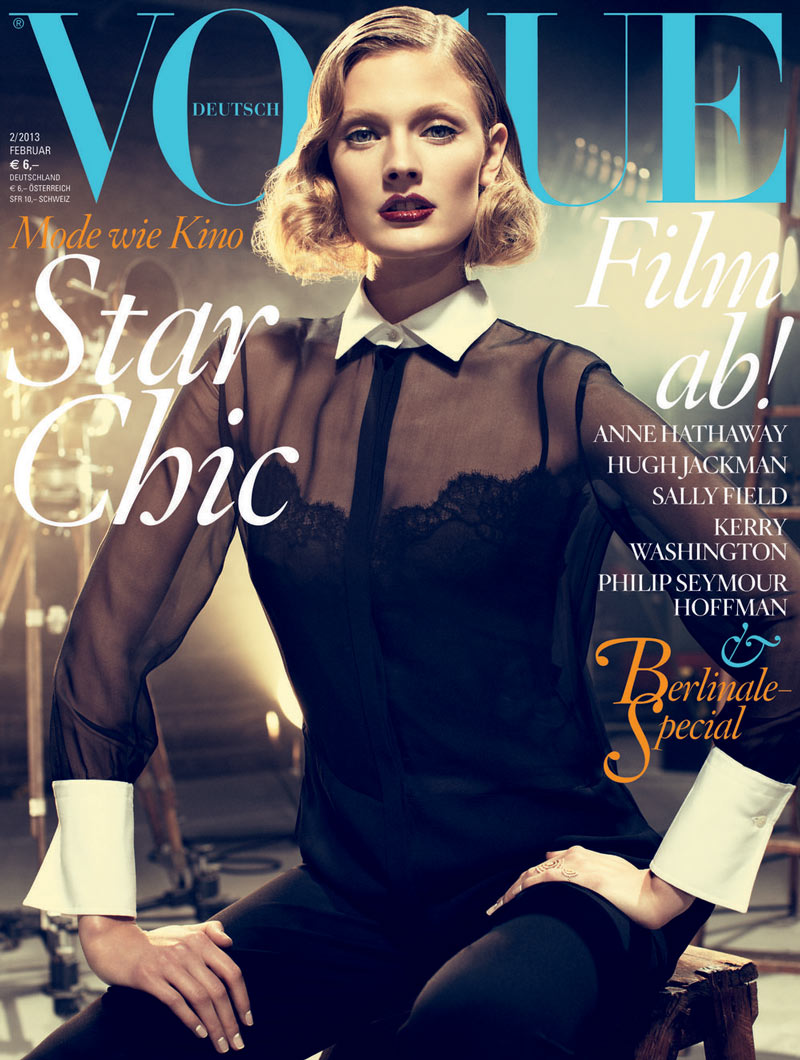 constancevoguede A Valentino Clad Constance Jablonski Covers Vogue Germany February 2013