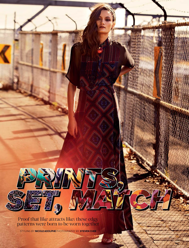 cosmo1 Rachel Rutt Plays With Prints for Cosmopolitan Australia by Steven Chee