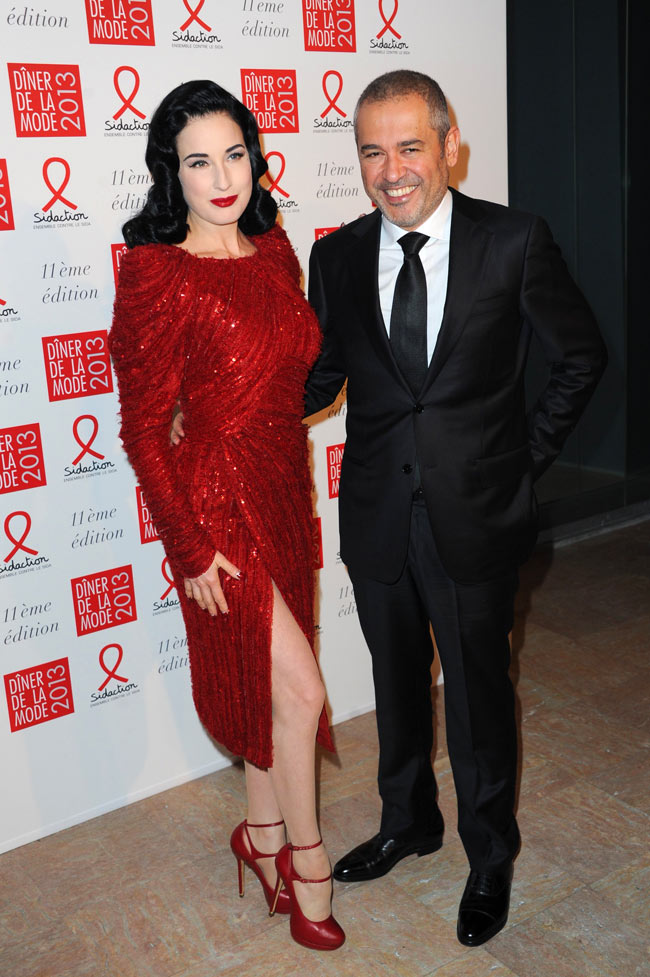 dita3 Dita Von Teese in Elie Saab Haute Couture at the Sidaction Gala Dinner