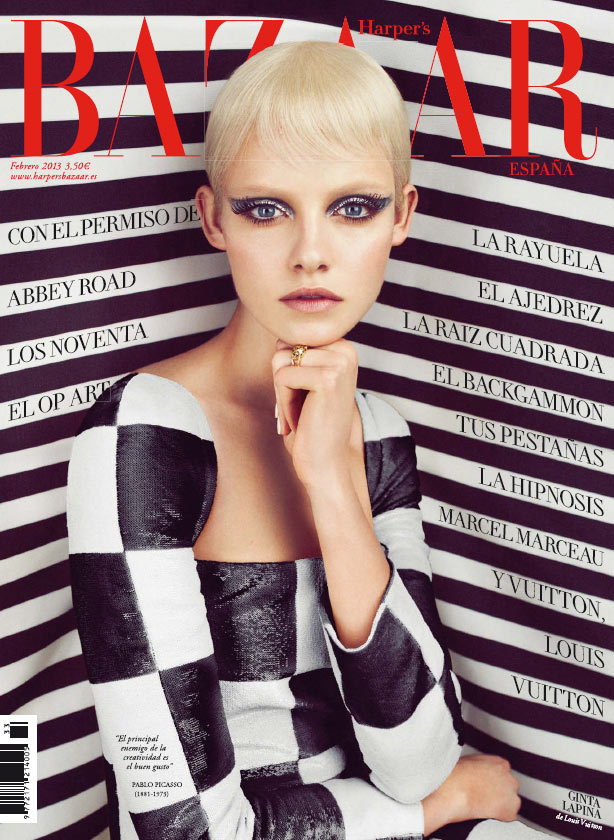 gintacover Ginta Lapina Mesmerizes in Louis Vuitton for Harpers Bazaar Spain February 2013 Cover