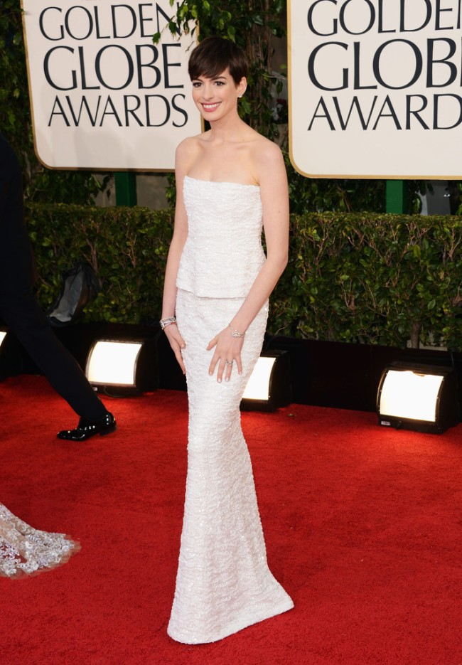 globes1 Anne Hathaway in Chanel, Megan Fox in Dolce & Gabbana, Amanda Seyfried in Givenchy and More Stars at the 70th Annual Golden Globe Awards