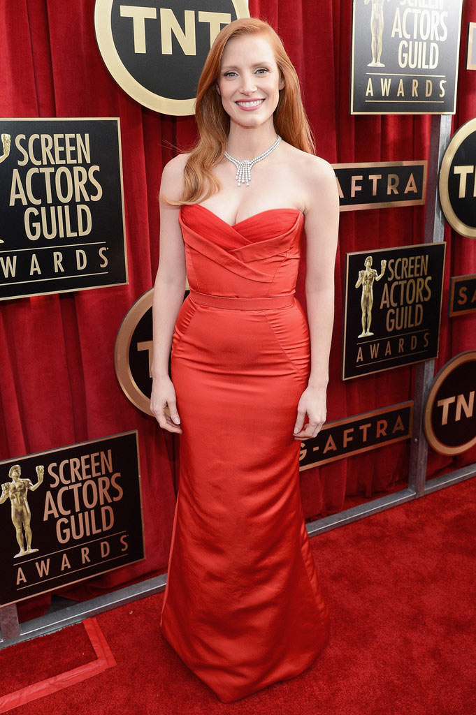 jessica sag3 Jessica Chastain in Alexander McQueen at the 19th Annual Screen Actors Guild Awards