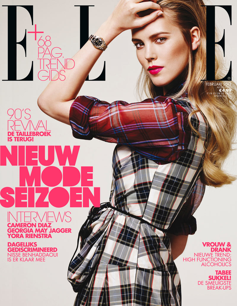 josefiencover Josefien Rodermans Dons Dries Van Noten for Elle Netherlands February 2013 Cover