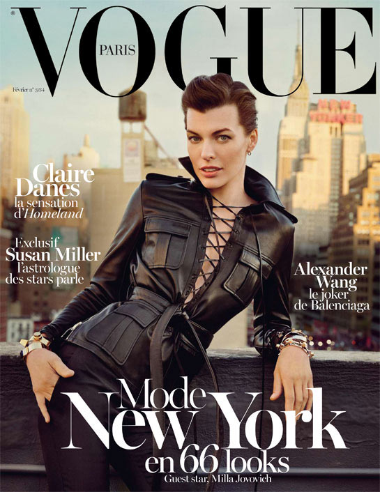 millacover Milla Jovovich Sports Saint Laurent for Vogue Paris February 2013 Cover