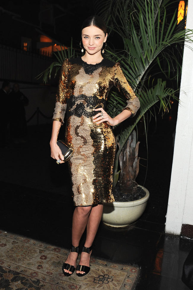miranda2 Miranda Kerr in Dolce & Gabbana at the Dom Perignon and W Magazine Golden Globes Celebration