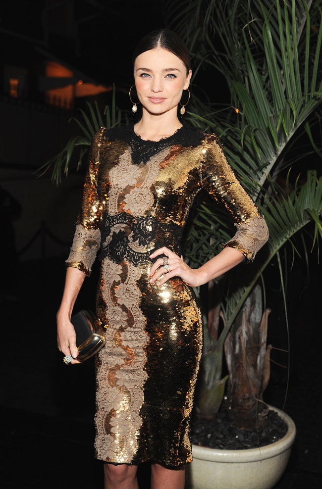 miranda3 Miranda Kerr in Dolce & Gabbana at the Dom Perignon and W Magazine Golden Globes Celebration