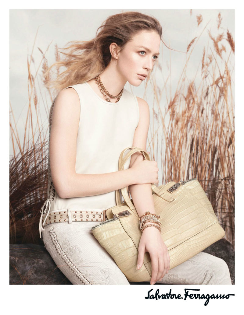 salvatore1 Raquel Zimmermann Poses for Salvatore Ferragamos Spring 2013 Campaign by David Sims